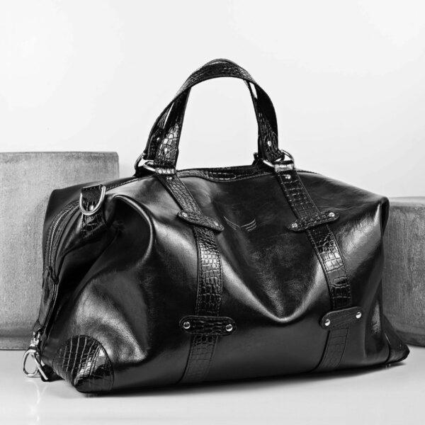 Geanta de voiaj neagra din piele naturala Maestoso Black Croco Duffle Bag