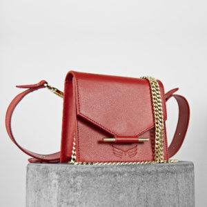 Borseta si geanta mini rosie din piele naturala Maestoso Mini & Waist Bag Red