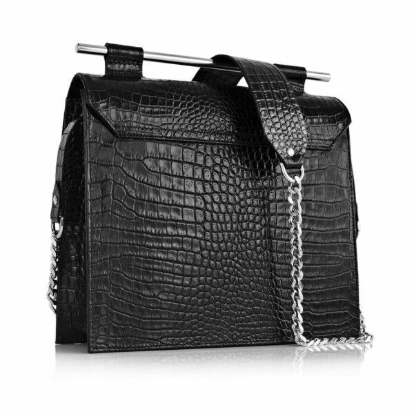 Maestoso Black Croco Square Bag
