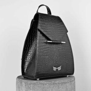 Rucsac negru din piele naturala cu textura croco Maestoso Black Croco Mini Backpack