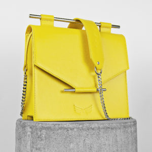 Geanta galbena din piele naturala Maestoso Yellow Square Bag