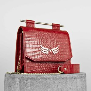Geanta mini din piele naturala cu textura croco, culoarea rosu, Maestoso Red Croco Sparrow Bag