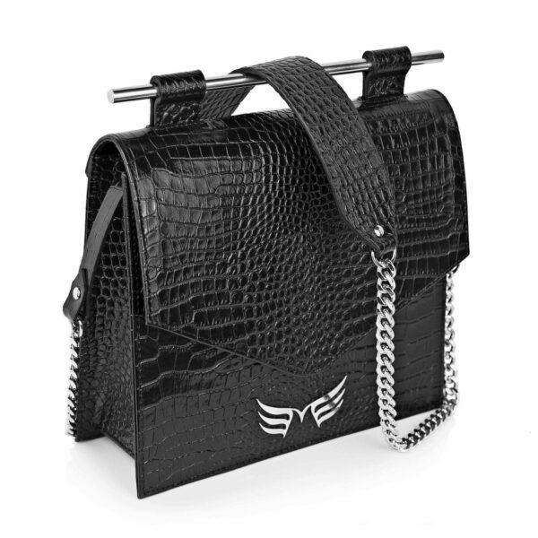 Maestoso Black Croco Square II Bag