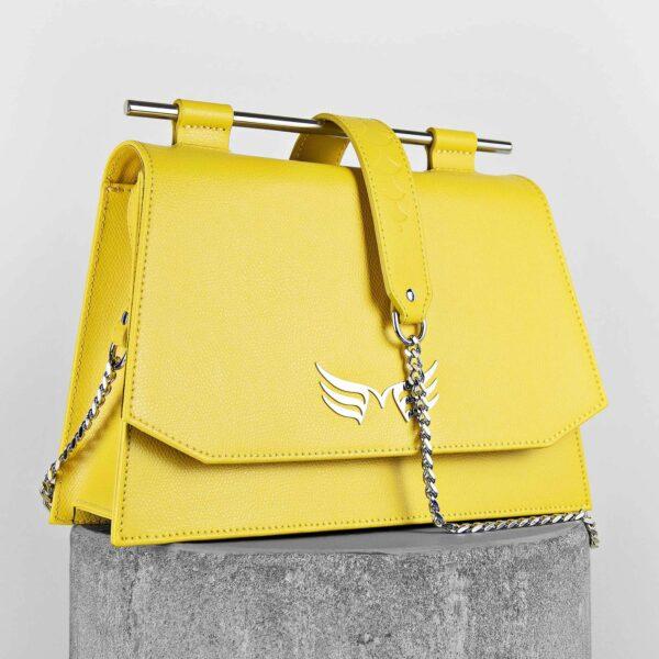 Geanta din piele naturala, culoarea galbena Maestoso Yellow Skylark Queen Bag