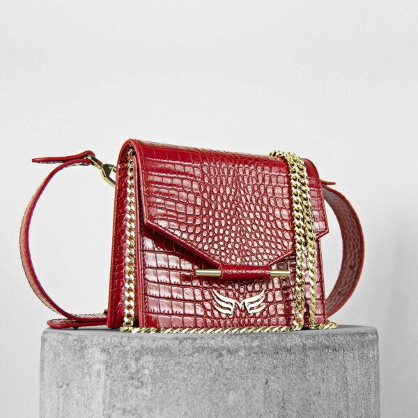 Geanta din piele naturala cu presaj sarpe, culoarea rosu Maestoso Mini + Waist Bag Red Croco