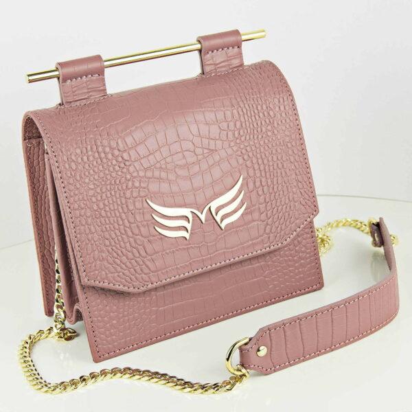 Maestoso Dusty Pink Croco Sparrow Bag