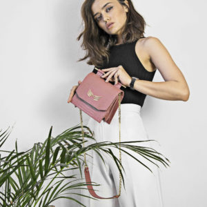 Maestoso Dusty Pink Croco Sparrow Bag