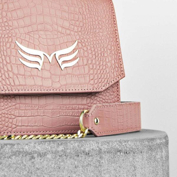 Geanta mini din piele naturala cu presaj croco, culoarea roz pudrat, Maestoso Dusty Pink Croco Sparrow Bag