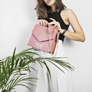 Geanta din piele naturala cu presaj croco, culoarea roz pudrat Maestoso Dusty Pink Croco Square II Bag