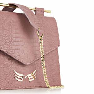 Maestoso Dusty Pink Croco Square II Bag