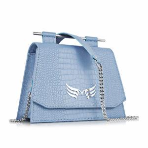 Geanta mini din piele naturala cu presaj croco, culoarea bleu, Maestoso Blue Sky Croco Mini Skylark Queen Bag