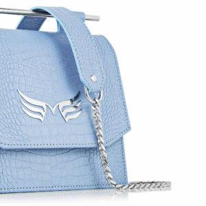 Maestoso Blue Sky Croco Sparrow Bag