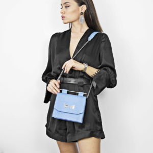 Maestoso Blue Sky Croco Sparrow Bag