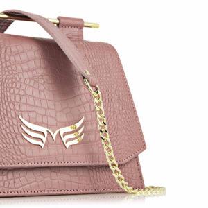 Maestoso Dusty Pink Croco Mini Skylark Queen Bag