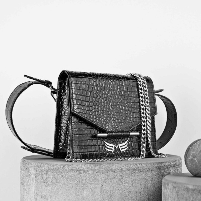 Maestoso Black Croco Mini + Waist Bag