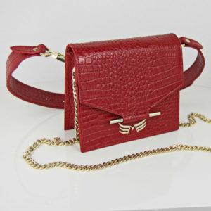 Maestoso Black Croco Mini + Waist Bag
