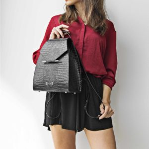 Maestoso Black Croco Mini Backpack
