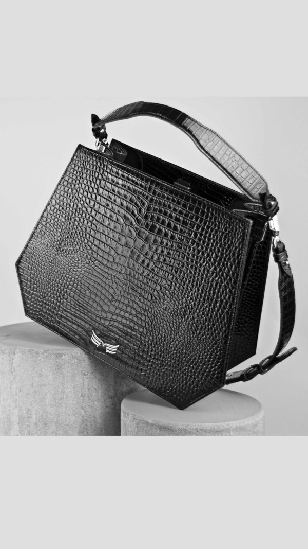 Maestoso Black Croco Rem Handbag