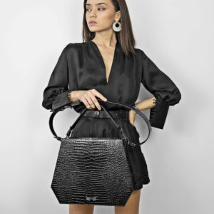 Maestoso Black Croco Rem Handbag
