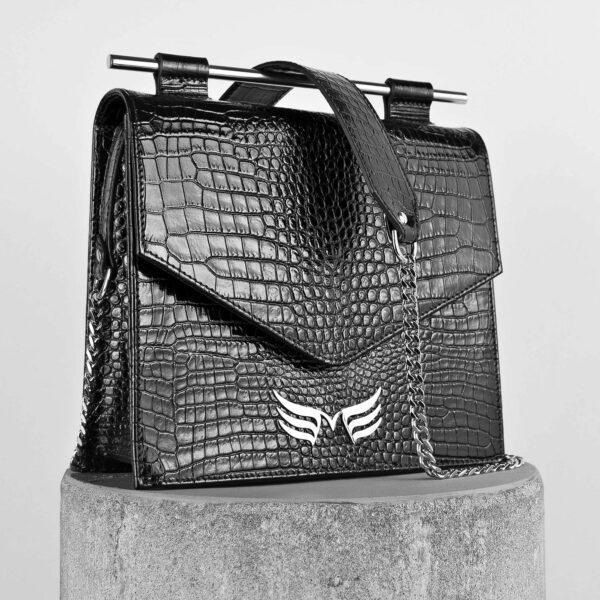 Maestoso Black Croco Square Bag II