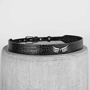 Maestoso Black Croco Leather Wings Belt