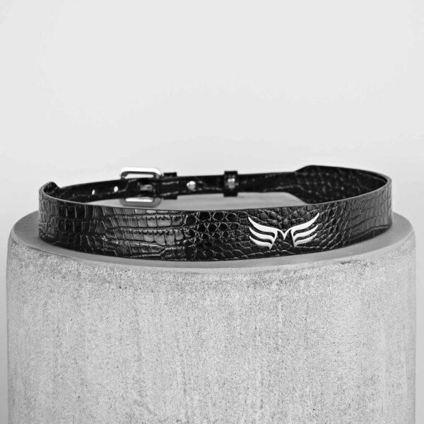 Maestoso Black Croco Leather Wings Belt
