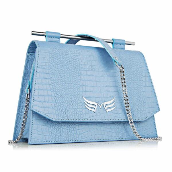 Maestoso Blue Sky Croco Skylark Queen Bag
