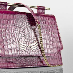 Geanta din piele naturala cu presaj croco, culoarea magenta Maestoso Magenta Croco Skylark Queen Bag