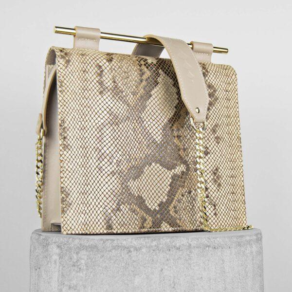 Geanta nude din piele naturala cu textura sarpe Maestoso Nude & Snake Print Square Bag