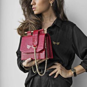 Maestoso Red Croco Sparrow Bag