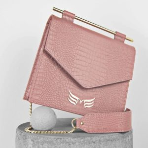 Maestoso Dusty Pink Croco Square II Bag