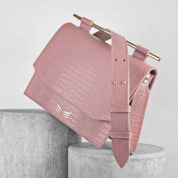 Maestsoso Dusty Pink Croco Moneo Handbag