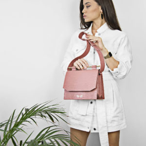 Maestsoso Dusty Pink Croco Moneo Handbag
