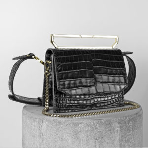 Maestoso Black Croco Neri Leather Bag