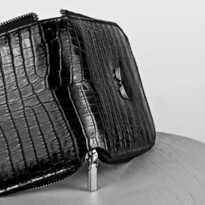 Maestoso Black Croco Leather Wallet