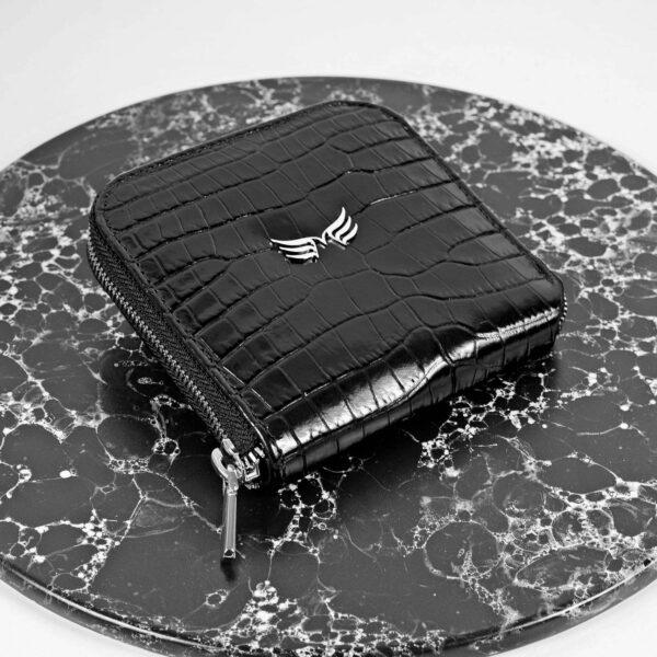 Maestoso Black Croco Leather Wallet