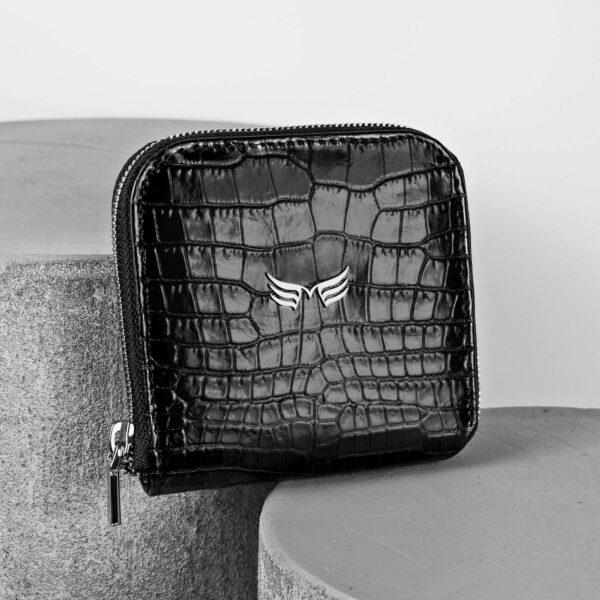 Portofel din piele negru croco Maestoso Black Croco Wallet