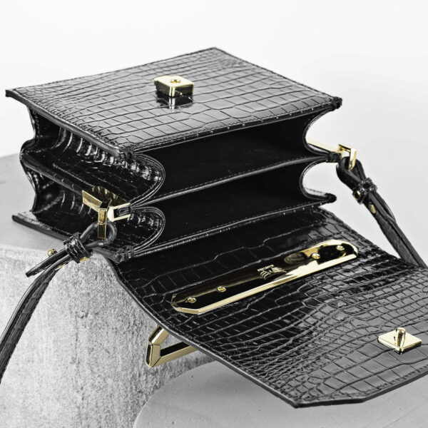 Geanta mini neagra din piele naturala Maestoso Black Croco Eames Bag