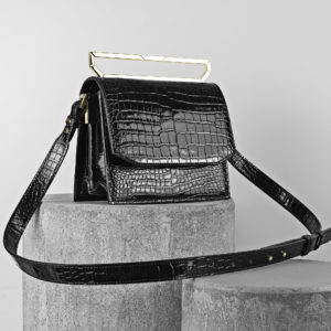 Maestoso Black Croco Eames Leather Bag