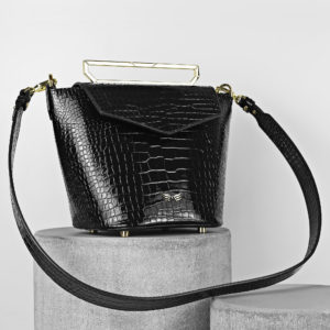 Maestoso Black Croco Maya Leather Bag