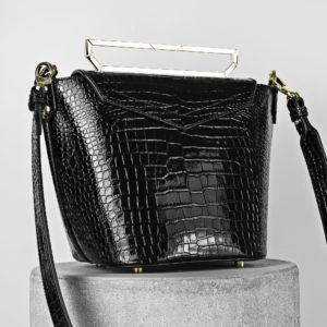 Maestoso Black Croco Maya Leather Bag