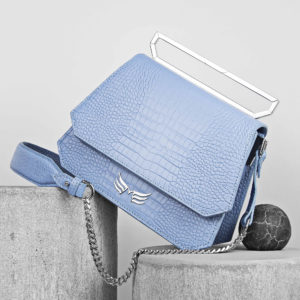 Maestoso Blue Sky Croco Nouvel Leather Bag