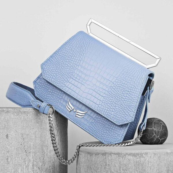 Maestoso Blue Sky Croco Nouvel Leather Bag