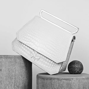 Maestoso White Croco Nouvel Leather Bag