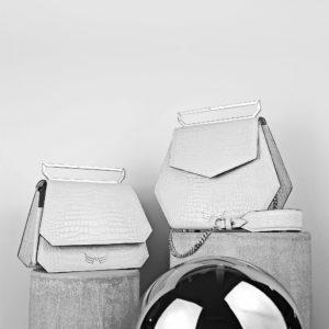 Maestoso White Croco Nouvel Leather Bag