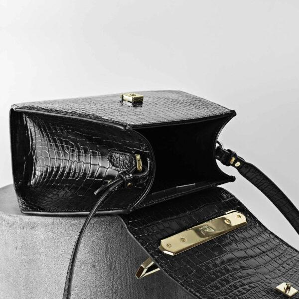 Maestoso Black Croco Renzo Leather Bag