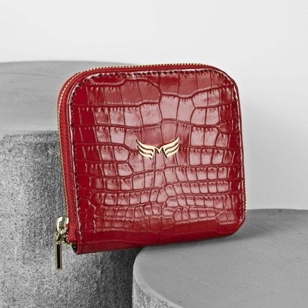 Portofel din piele rosu croco Maestoso Red Croco Wallet