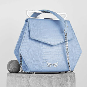 Maestoso Blue Sky Croco Renzo Leather Bag