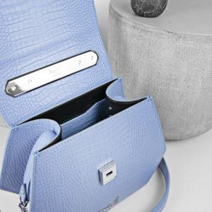 Maestoso Blue Sky Croco Renzo Leather Bag