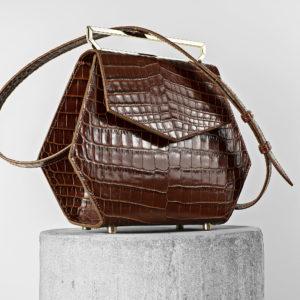 Maestoso Brown Croco Renzo Leather Bag